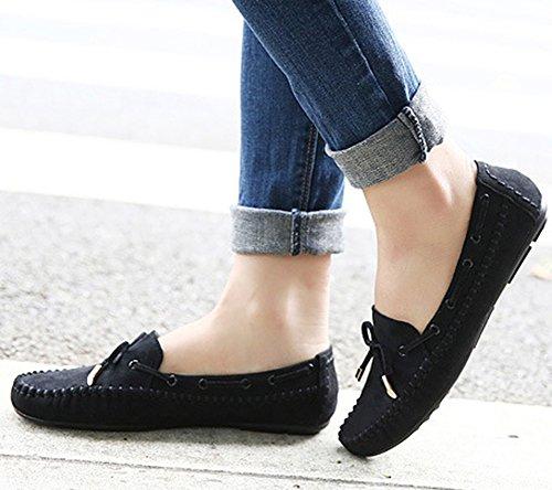 Sfnld Dames Casual Platte Slip Op Rijdende Loafers Mocassin Zwart