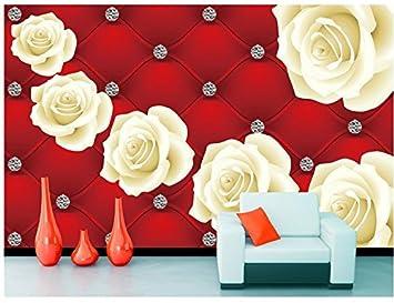 Chlwx 400cmx280cm 157 5inx110 221in 3d Wallpaper Fleur Rouge Rose