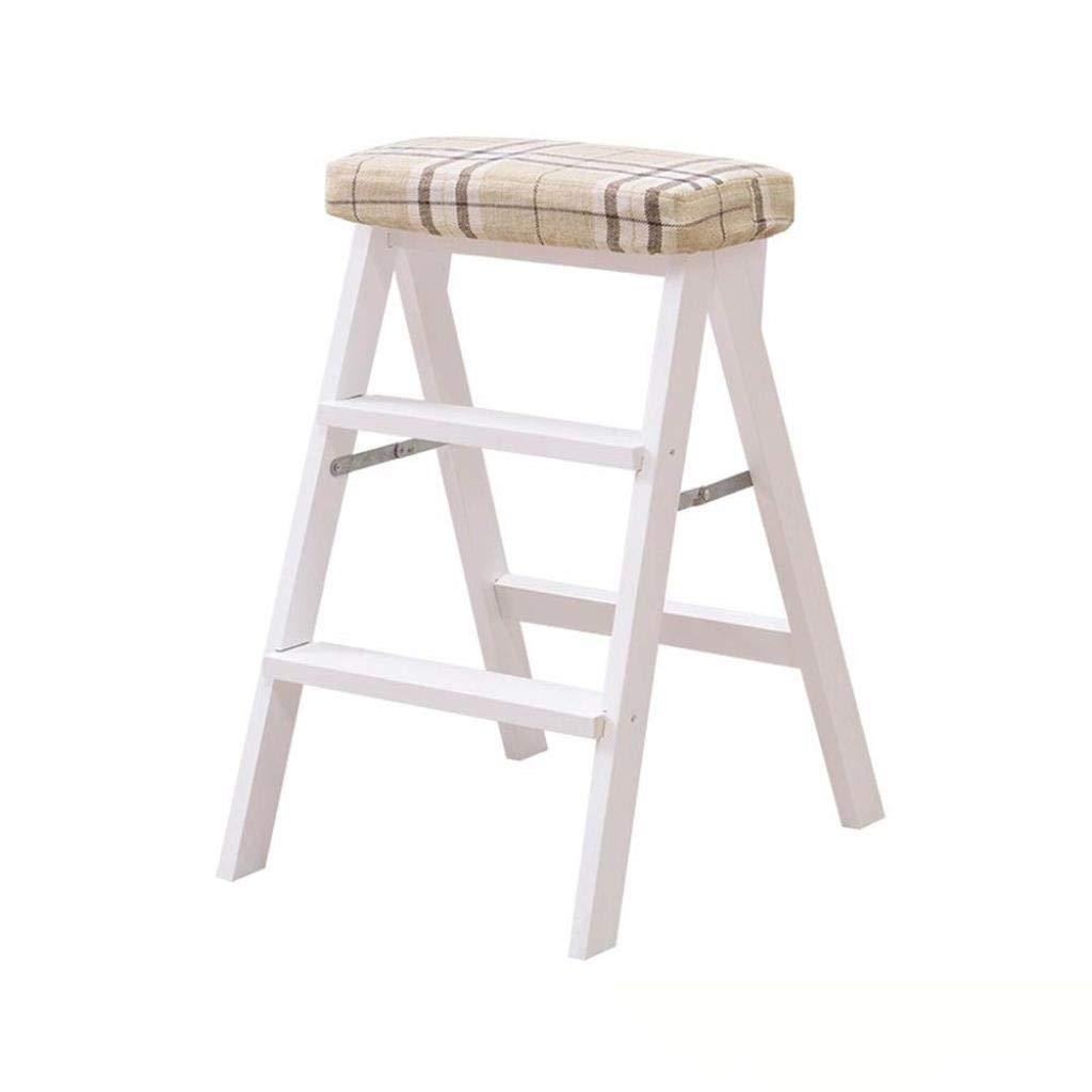 無垢材折りたたみスツールホームクライミングスツールファッションクリエイティブ折りたたみ椅子ポータブルデュアルユースキッチンベンチ階段スツール42×49×63 cm (Color : F) B07STCTYL5 F