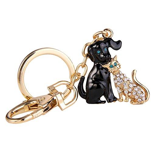 EVER FAITH Austrian Crystal Black Enamel Cat and Dog Friends Pet Animal Key Chain Clear Gold-Tone