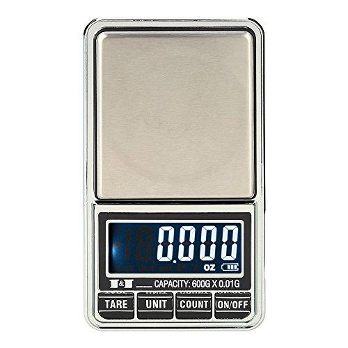 KKmoon Mini Báscula profesional digital electrónica de Joyería de la Escala Bolsillo Escala Balanza de precisión 600g*0.01g / 1000g*0.1g: Amazon.es: Hogar