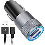 iPhone Car Charger, Aonear 3.1A Rapid Dual Port USB Car Charger with 6-feet Lightning Cablefor iPhone X / 8/8 Plus / 7 / 6s / 6s Plus 5S 5 5C SE,iPad and More