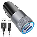 Car Charger, Aonear 3.1A Rapid Dual Port USB Car Charger with 6-feet Lightning Cable Compatible iPhone Car Charger for iPhone X / 8/8 Plus / 7 / 6s / 6s Plus 5S 5 5C SE,iPad and More