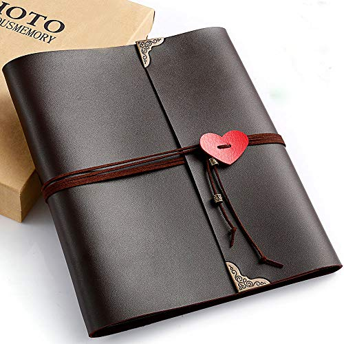 Polaroid Photo Album, 70 pages Casaon 3 Ring Binder Vintage DIY Leather Scrapbook for Anniversary Birthday Wedding Travel Graduation with Pen & Photo Corners, Holds 2x3