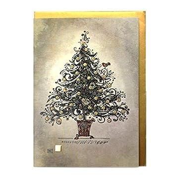 Designer Weihnachtskarten De.Luxury Designer Weihnachtskarten Ba0175 Chintz Schwarz 5 Stück
