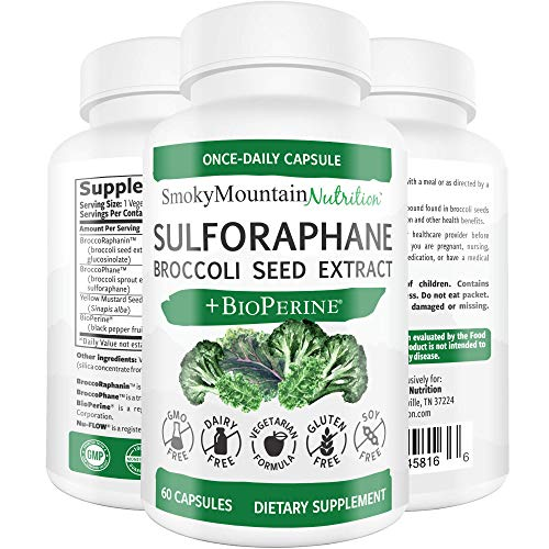 Sulforaphane Supplement 75mg with Myrosinase, Broccoli Seeds, Broccoli Sprouts Extract and Mustard Seeds – 60 Capsules – Glucoraphanin SGS, Glucosinolate, NRF2 – Detox, Anti-Inflammatory Antioxidant
