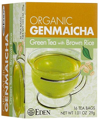 Eden Organic Green Tea with Brown Rice, Traditional Genmaicha, Tea Bags, (1.01 OZ) 16 ct Boxes