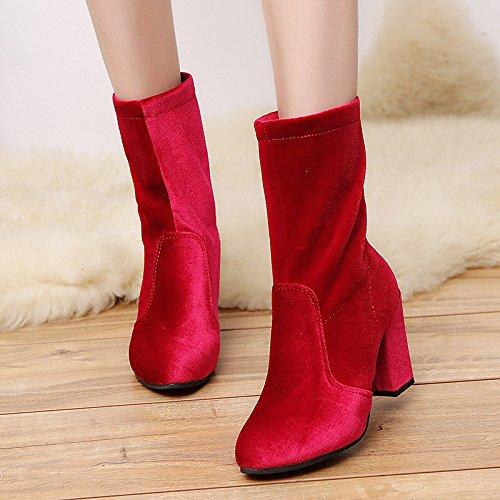 Boots ZHZNVX Similicuir Printemps Bottes Femmes Orteil de Chaussures pour HSXZ Mode Hiver Ferm Chaussures Talon Chaussures qxvrFqf