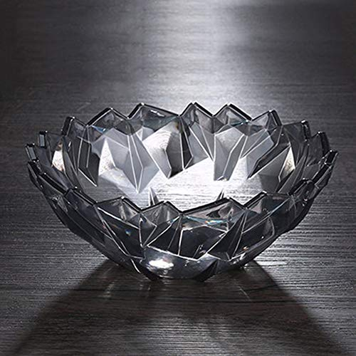 Crystal Fruit Basket - QPSGB Fruit basket - large crystal fruit plate candy dish modern living room home creative dried fruit dish nut dish melon fruit plate melon tray - tray bowl stand (Color : Black)