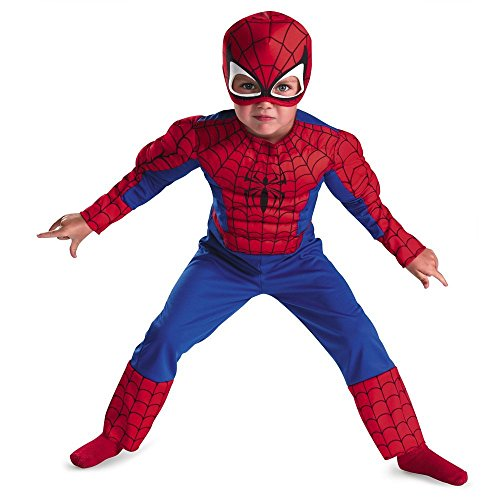 [Disguise Marvel Spider-Man Toddler Muscle Costume, Large/4-6(Discontinued by manufacturer)] (Black Men Halloween Costumes)