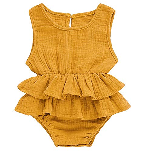 (Ritatte Newborn Baby Girl Romper Bodysuits Cotton Flutter Sleeve One-Piece Romper Outfits Clothes (Yellow, 0-6 Months(70)))