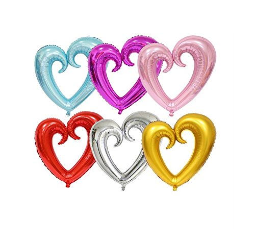 EBTOYS Foil Mylar Helium Ballon Heart Shape Balloons for Valentine's Day Wedding Party Decorations,40inch,6-Pack ()