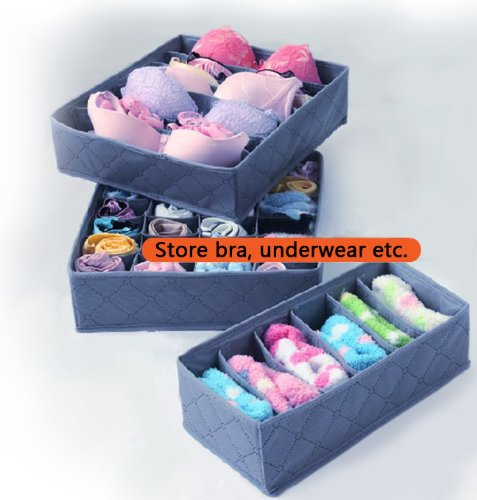KLOUD City ® Grey Set of 3 Bamboo Fabric Collapsible Foldable Lingerie Socks Ties Bra Underwear Storage Container Holder Organizer
