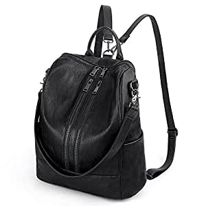 UTO Women Backpack Purse PU Washed Leather Convertible Ladies Rucksack Double Zipper Pockets with Shoulder Strap Black