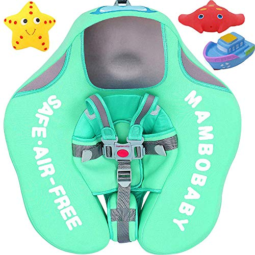 V Convey Upgraded Baby Infant Soft Solid Non-Inflatable Mambobaby Float Lying Swimming Ring Children Waist Float Ring Floats Pool Toys Swimming Pool Swim Trainer Classic Swim Ring (Green Cloth)