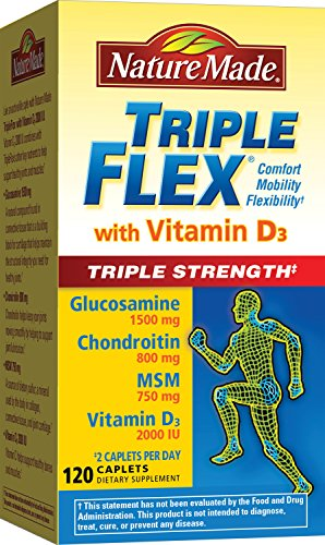 Nature Made TripleFlex Triple Strength with Vitamin D3 Caplet (Glucosamine Chondroitin MSM) 120 (Caplets Glucosamine)