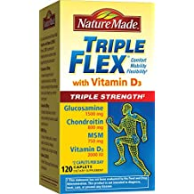 Nature Made TripleFlex Triple Strength with Vitamin D3 Caplet (Glucosamine Chondroitin MSM)  120 ct