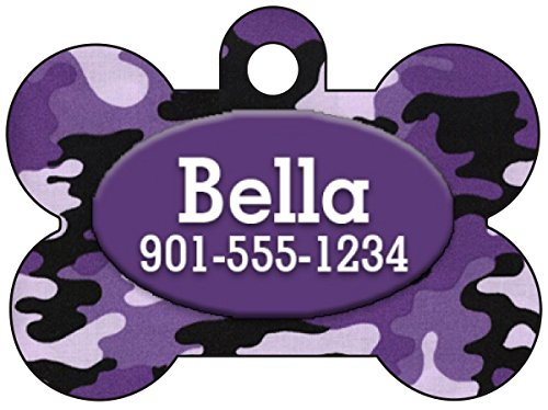 (Camo Dog Tag Pet Id Tag Personalized w/Your Pet's Name & Number (Purple))