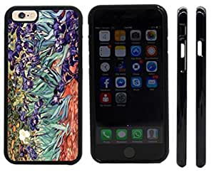 Rikki KnightTM Van Gogh Irises Design iPhone 6 Case Cover (Black Rubber with front bumper protection) for Apple iPhone 6 by mcsharks