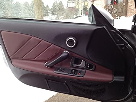 RedlineGoods Door Insert Covers AP1 Compatible with Honda S2000 1999-09 Black Perforated Leather-Silver Thread