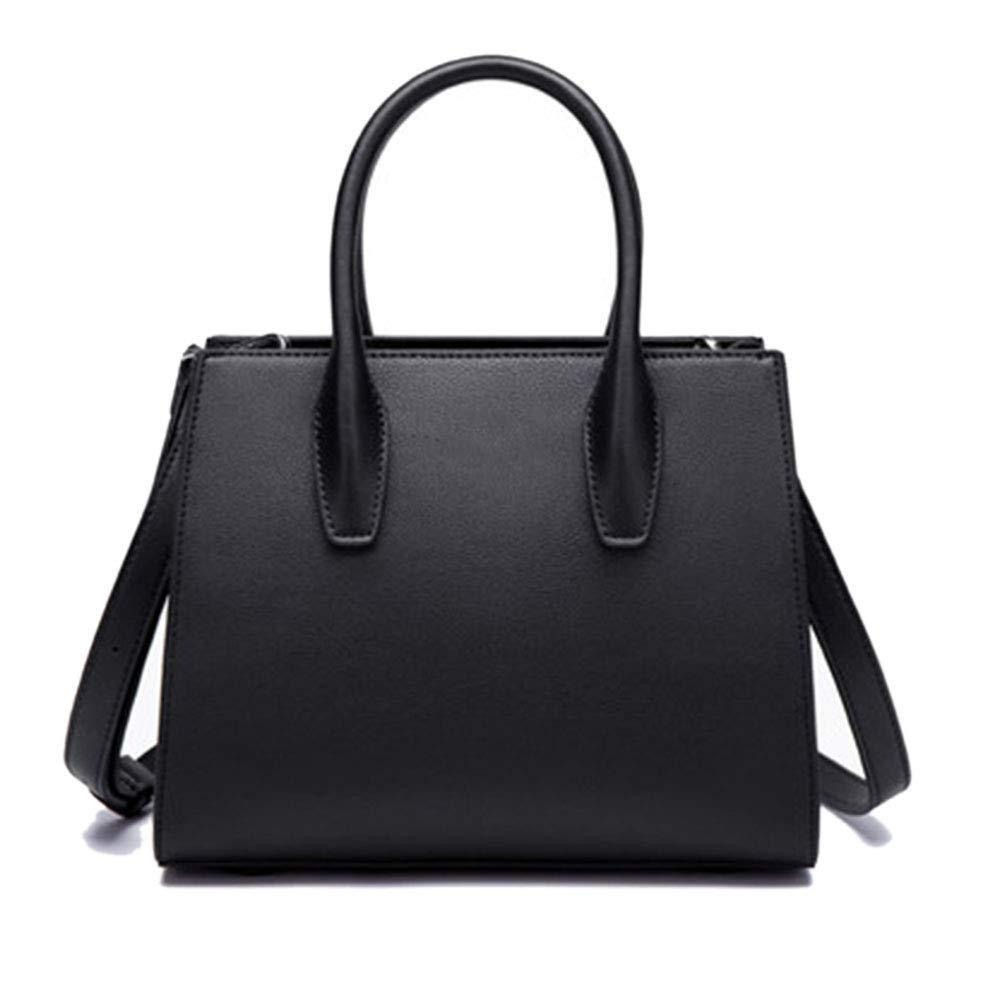 女性用ハンドバッグPuレザーショルダーマルチポケット大容量バッグ B07MXGDHFX Black