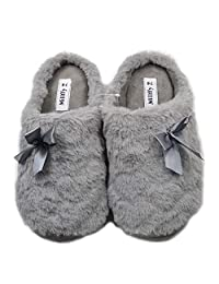 Millffy Womens Mens Indoor Slippers Winter Warm Fuzzy Plush Fur Anti-Slip House Bedroom Slippers