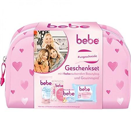 Bebe Geschenkset mit Beautybag (1x Waschgel und Augen Make-Up Entferner, 1x Lippenpflegestift Zartrosé, 1x Feuchtigkeitspflege, 1x 5 in 1 Pflegende Reinigungstücher) 90726