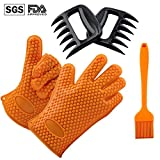 ZOMEI Heat Resistant Silicone Grilling Oven Gloves with Meat Claws Shredder and Silicone Basting Brush for Indoor & Outdoor Cooking, Baking, Barbecue