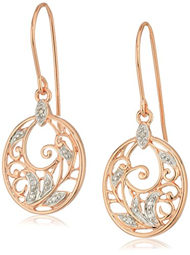 - 14k Rose Gold Plated Sterling Silver Diamond Accent Filigree Disc Dangle Earrings