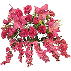 Boomer888 Large Centerpieces Fuchsia Roses Lilies Arch Gazebo Silk Wedding Artificial Flowers 29 inch Tall Mixed Floral Long Stem Roses Tiger Lilies Home DIY Craft Decoration 88