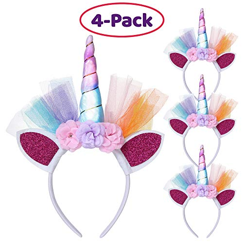 LED Unicorn Headbands - Pack of 4 Unicorn Headpieces with Glitter Ears, Row of Flowers, Colorful LED Horn with On/Off Switch - Unicorn Theme Party Favor Supplies  Great for Both Kids & Adults