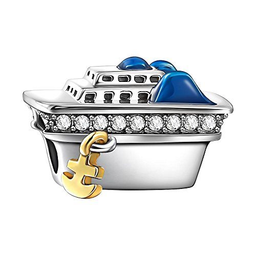 SOUFEEL Bon Voyage Cruise Ship Charm Crystal 925 Sterling Silver Fits European Charms Bracelets