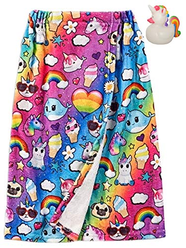 (Top Trenz Inc Unicorn Dreams Big Girls Spa Bath Wrap & Unicorn Rubber Ducky Bundle Set)
