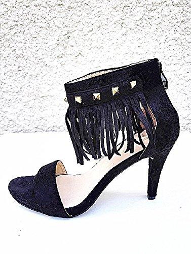 chaussures mariage Sandales femme J 2 a clous suédine talon chic franges NOIR en FKazprgOaq