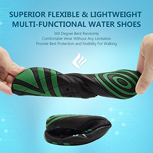 CIOR Men and Women's Barefoot Quick-Dry Water Sports Aqua Shoes With 14 Drainage Holes For Swim, Walking, Yoga, Lake, Beach, Garden, Park, Driving, Boating,DND002,Black,40 4