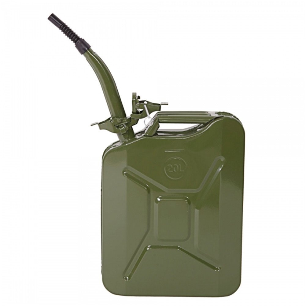 Lovinland 5 Gallon Gas Can Metal Jerry Can Emergency Backup Storage Tank Can Army Green