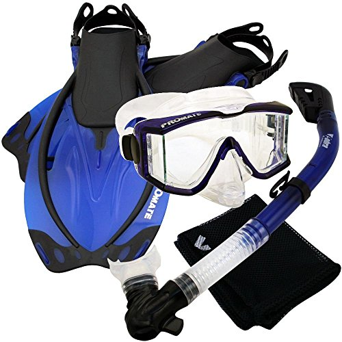 PROMATE Snorkeling Scuba Dive Panoramic PURGE Mask Dry Snorkel Fins Gear Set, Trans. Blue, ML/XL