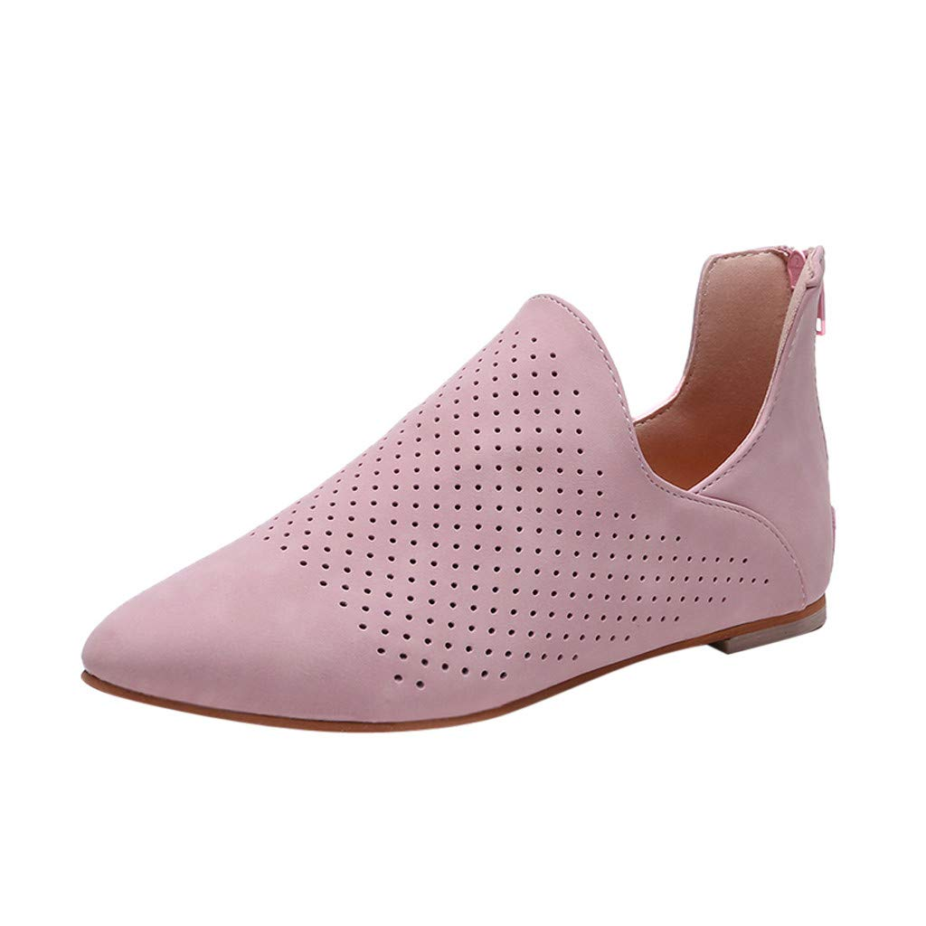 HOSOME Women Roman Single Shoes Fashion Solid Pointed Toe Flat Hollow Out Shoes