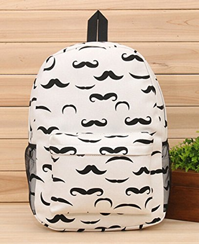 YOYOSHome® Cute Mustache Style Beard Travel College Backpack School Shoulder - Beard Of Styles Mustache And
