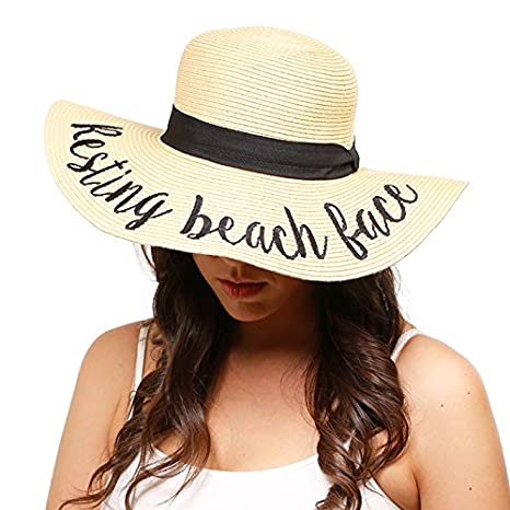 8f19c847fd8 Amtal Women Elegant Wide Brim Embroidered Beach Pool Floppy Summer Vacation  Sun Hat (Always on Vacay) at Amazon Women s Clothing store