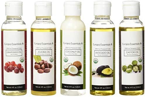 Europa Essentials 5-Pack 100% Organic Carrier Oil Gift Set for Moisturizing Skin, Hair, Nails - Avocado Oil, Castor Oil, Coconut Oil, Grapeseed Oil, Jojoba Oil (4oz Each)