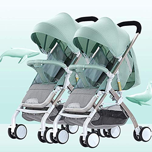 Tandem Foldable Stroller, Easy Folding Baby Stroller with Side by Side Twin Seats,Double Toddler Baby Pram with Baby Basket Anti-Shock Springs, Portable Anti-Shock High View Carriage (Color : Green)