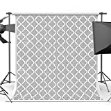 Maijoeyy 5x7FT Grey with White Pattern Backdrops for Photographers Cotton Polyester Seamless Backdrop for Photography Kids Party Photo Booth Studio Shoot