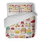 SanChic Duvet Cover Set Collection of Lovely Cake Ingredient Cute Egg Adorable Milk Sweet Flour Kawaii Strawberry Girly Butter Decorative Bedding Set with Pillow Sham Twin Size