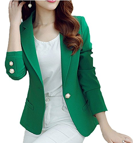 HaoMing Fashion Casual Work Blazer Office Jacket Lightweight for Women and Juniors #5 Green XL