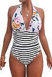 CUPSHE Women's Stripe Halter One-Piece Swimsuit Bold Floral Swimwear, Large