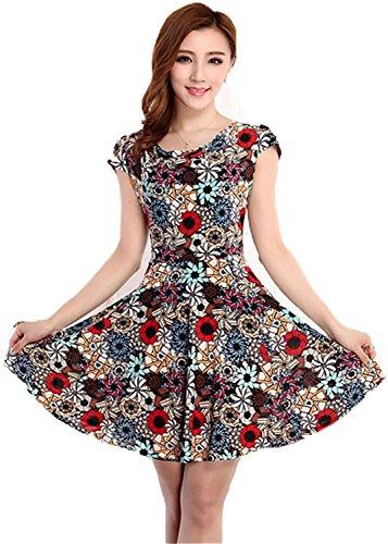 ainrving Women's Elegant Summer Plus Size O Neck Floral Print Party Mini Dress 16Large