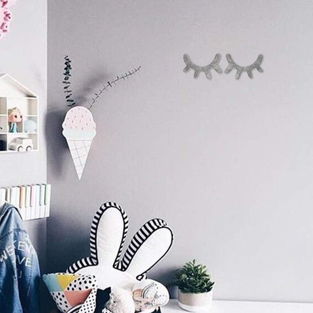 1 Paire 3d Mignon En Bois Cils Wall Sticker D/écor Enfants Enfants Salle De Fond Autocollant Mural D/écoration