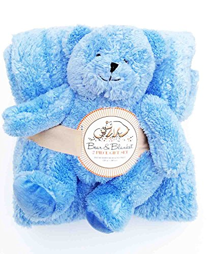 Plush Blue Teddy Bear & Blanket Gift Set - 50 in. x 60 in.