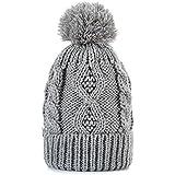 Women Winter Pom Pom Beanie Hat with Warm Fleece Lined, Thick Slouchy Snow Knie Skull Ski Cap by REDESS